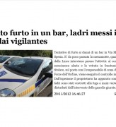 Tentato furto in un bar, ladri messi in fuga dai vigilantes
