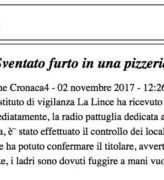 Sventato furto in una pizzeria