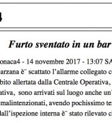Furto sventato in un bar