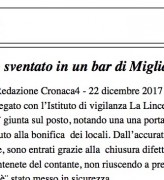 Furto sventato in un bar di Migliarina